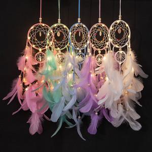Apanhador de Sonhos Com Luz LED String Handmade Pena Dreamcatcher Menina Quarto Romântico Pendurado Decoração presentes da festa de aniversário Xmas