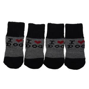 Kış nervürlü Hem Akrilik Ayakkabı Pet Dog Çorap giyin