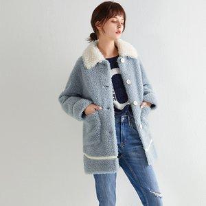 Outono Casaco de Inverno Roupas Femininas 2019 100% Wool Jacket real casaco de pele coreana Sheep Shearling Suede Lining Abrigo Mujer ZT3635