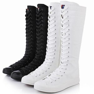 SZSGCN428 New Spring autumn Women Shoes Canvas Casual High Top Shoes Long Boots Lace-Up Zipper Comfortable Flat boots sneakers
