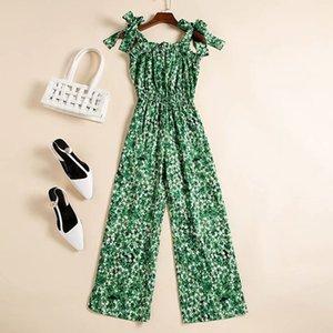 Avrupa ve Amerikan kadın giyim 2020 yaz yeni stil ilmek kınama kemer yeşil yaprak baskı moda tulum