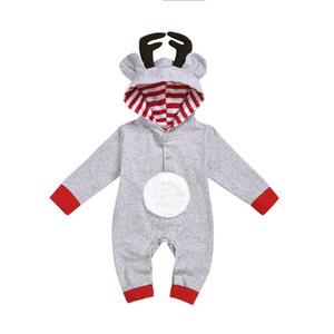 Pagliaccetti di Natale Abbigliamento Bambino Neonata Boy maniche lunghe con cappuccio Antlers pagliaccetto Nel complesso i vestiti Set