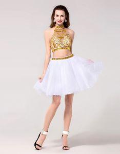 Oro bianco due pezzi Quinceanera Abiti in linea in rilievo di cristallo breve dolci 2020 da cocktail Prom Dresses Abiti Homecoming