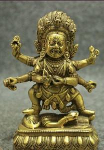 Folk Tibet Brass Buddhism Joss Vajra Protect 6 Arms Mahakala Buddha Seat Statue