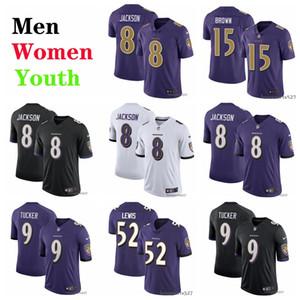 Балтимор Рейвенс Майки мужчины женщины молодежь 8 Ламар Джексон 9 Джастин Такер 52 Рэй Льюис 29 Эрл Томас III футбольные майки черный