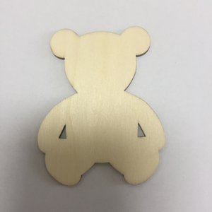 20pcs wood bear pattern DIY crafts bear ornaments for home decoration lovely bear for scrapbook free shipping low price