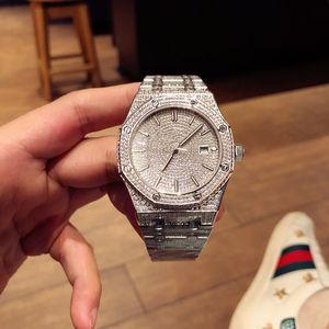 Montre de diamant de mens de haute qualité 41mm de luxe montre 3120 mouvement automatique montre reloj de Lujo Audemars Piguet AP