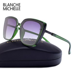 블랑쉬 미셸 2019 고품질 고양이 눈 편광 선글라스 여성 UV400 oculos 대형 거울 태양 안경 브랜드 박스