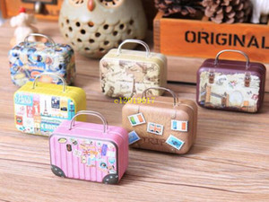 Candy Caixa 360pcs Continental Mini Tin Box Retro Suitcase bolsa retangular pequeno pequeno Tin Container
