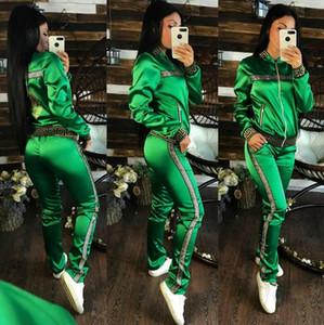 Kadın Mektup Baskı Eşofman Uzun Kollu Mahsul En + Pantolon Tayt 2 ADET Set Jogging Yapıcı Kıyafeti CHAMPI Spor şerit spor suit
