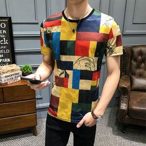 Streetwear T Shirt Men Camisetas Hombre Short Sleeve Tshirt Splice Contrast Color Fashion Lattice Print T Shirt Harajuku Top Tee