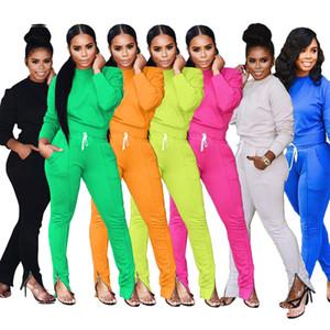 2019 felpe manica lunga nuovo autunno inverno zip leggings orlo due parti delle donne 7colors della tuta casuale set di moda