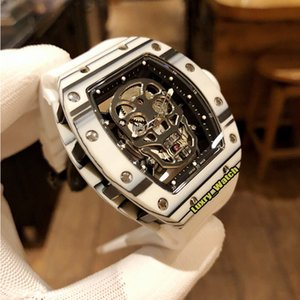 Best Edition RM 52-01 Skull Skeleton Dial White NTPT Carbon Fiber Case Japan Miyota Automatic RM052 Mens Watch Rubber Strap Designer Watches