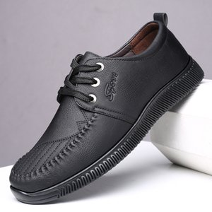 autumn men's Soft bottom casual shoes leather Flats MALE sneakers breathable reflective black handsome men business shoes *531