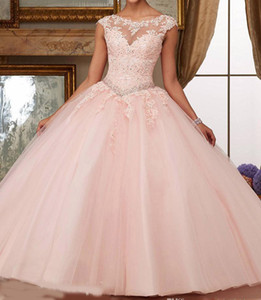 Gorgeous 2019 Quinceanera Dresses Blush Pink Bateau Neck Cap Sleeve Appliques Lace Sequins Beaded Ball Gown Sweet 16 Dresses