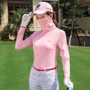 Femmes manches longues T-shirt de mise à niveau de golf Sun Protection Uv Bas Hauts respirante pour femmes en soie douce T-shirt avec D0679 Masque crème solaire