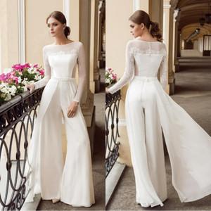 2020 vestidos de novia blanco de Bohemia del mono de encaje de manga larga cuello de la joya de la playa de los vestidos de novia de longitud de gasa de Boho del vestido de novi