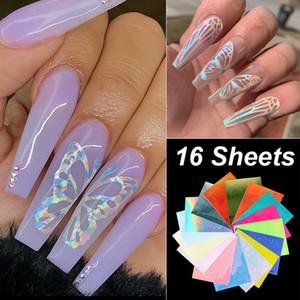 Holographic Laser Fluorescent Butterfly Wings Nails Aufkleber 3D selbstklebende Glitter Bunte Nail Art Transfer-Abziehbild-Aufkleber-Maniküre-Werkzeug