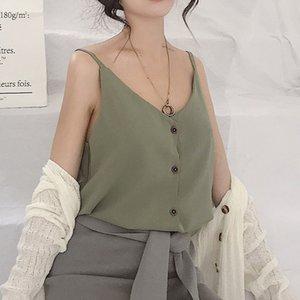 Moda Casual Tops Tops Único Breasted Camisole marca de alta qualidade Feminino Camisole