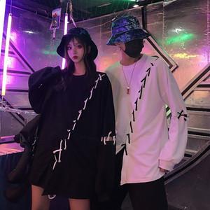 sCElX Dark Wind ins design sense top wo high street hip-hop personalized diy straps loose long-sleeved Diy Shoulder sweater sweater men's an