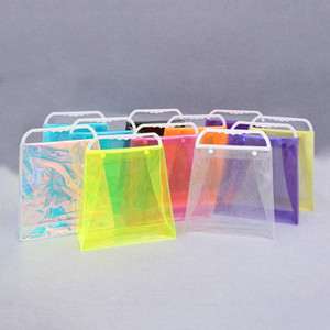 PVC Laser Shopping Bag PVC transparente plástico bolsa colorida Embalagem Bag Moda Shouder Bolsas Armazenamento Bolsas Ferramentas RRA1602