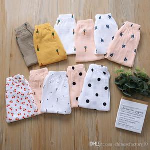 Pantalones de bebé de algodón PP Ins Girl Boy Pants Dot Cherry Cactus Impreso Kid Pantalones 11 colores