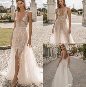 Berta 2020 de mariée sirène Privée robes Plongeant Illusion corsage cou dentelle Backless Robes de mariée Voir au travers Boho Slit Robe de mariée