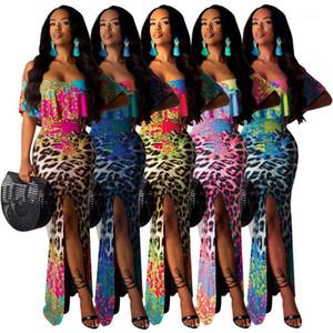 Die Frauen Tube Top Kleid Damen Freizeit-Kleid Digital gedruckte Frauen Designer-Kleid Slash Neck Flora gedruckt