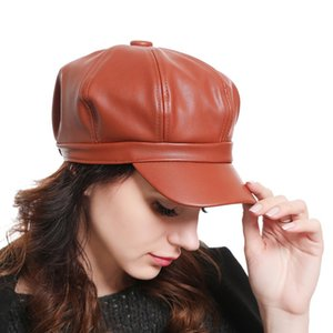 Hot female hat Solid Color PU Leather Octagonal Cap Ladies British Retro Casual Cap Fashion Painter Outdoor Cap
