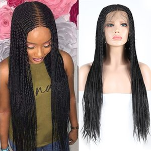 Парик фронта Плетеный шнурок с ребенком волос Термостойкое Glueless черный Женщины Box плетенки Lacefront парики синтетические Плетеный Micro Twist парики