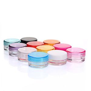 Mini frascos de vidrio similares 3g 5g frascos cosméticos vacíos Frascos de crema de fondo redondo PS con color múltiple para elegir