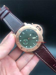 Beste Qualität Luxusuhr 47mm Grünes Zifferblatt Limited Edition Armbanduhren PAM382 PAM00382 Mechanische Automatikwerk Leder Herrenuhren