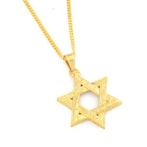 Oro y plata dos tonos estrella colgante collar mujeres hombres cadena regalo oro color hexagrama cristal colgante collar