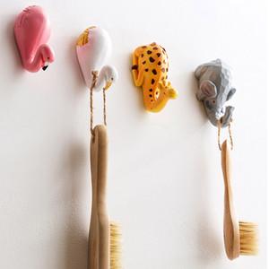 1 unid Cute Cartoon Animal Strong Adhesive Hook Cocina Dormitorio Cuarto de baño Llave Toalla Colgador Resina Ganchos Hogar Decorativo gancho