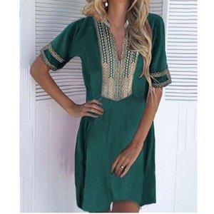 New Fashion Women Causal Boho Short Sleeve Cotton Linen Dress Vintage Summer Print Beach Holiday Dress Sundress