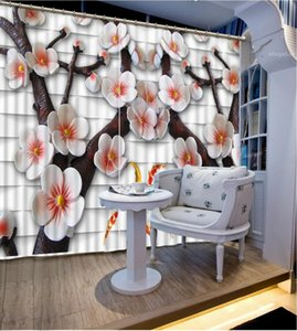 Custom 2019 Blackout Window Peach tree Curtain Home For Living room Bed room Office Hotel Stereoscopic Curtains