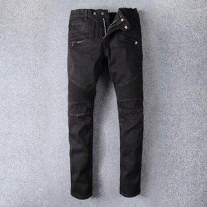 Fashion Streetwear Men Jeans Black Color Spliced Designer Hip Hop Jeans Men Classical Denim Cargo Pants Motor Biker1