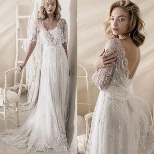 Romantique Bohême doux Une ligne bretelles décolleté robes de mariée Lihi Hod 2020 Nouveau de dentelle Embellissement Robes de mariée avec Wraps 1644