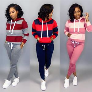 Осенние женские с капюшоном Спортивные костюмы Casual Женский полосатой Printed Спорт Set Модельер Ladies 2Pcs Set