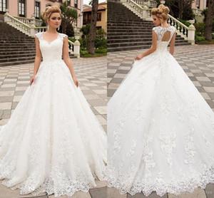 2020 Новый Дизайнерская линия Свадебные платья V шеи корсет Назад Сад Свадебные платья Кружева Аппликации Sweep Поезд vestidos де Novia