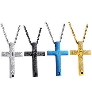 Religioso Gesù Uomini Crocifisso Ciondolo Oro Argento Nero Catena Acciaio inossidabile Bibbia Croce Pendenti Collane Christian JON163