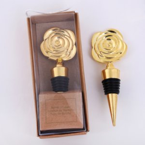 Or Stoppers vin Rose avec des boîtes-cadeaux Fleurs Rose Bouteille de vin Stopper fête de mariage Cadeaux pour les clients Favors cadeau