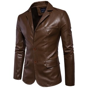 2017 Autumn And Winter New Style Purchasing Agents MEN'S Leather Coat Two-Button outside Suit ling mao Men'S Wear Simple Leather