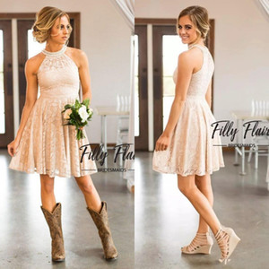 2019 Cheap Breve Lace Country Cowgirls Bridesmaids Dresses Perle Halter Neck knee-lunghezza Boho Beach Damigella d'Onore Ospite Party Dress BA7847