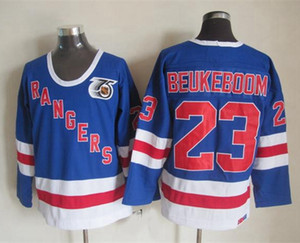 Vintage 1991 Mens New York Rangers Jeff Beukeboom Hokeyi Formalar Vintage # 23 Jeff Beukeboom 75. Yıl Mavi Gömlek M-XXXL