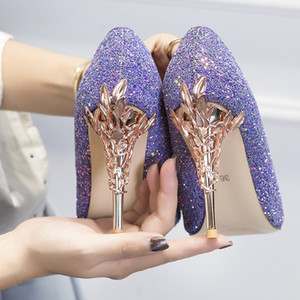 Фиолетовый блестками на высоком каблуке свадебные туфли 2019 скромный Лондон Неделя моды Eden пятки острым носом детские кожи женщин партии вечер выпускного вечера обувь