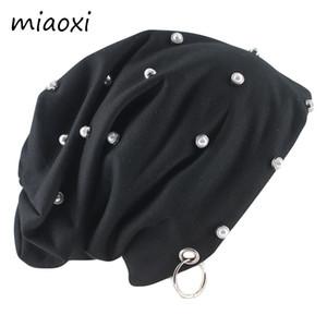 Miaoxi New Mode Hip Hop Hommes Femmes Beanies PERLE Perle chaud Casual Male Chapeau Casquettes Anneau Printemps Automne extérieur Gorras