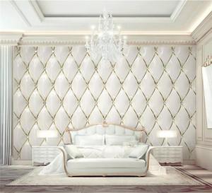 Papel de parede personalizado 3D Mural de ouro de luxo Cristal Rhombic Costura 3d Europeu Saco Soft Background Papéis de Parede Decoração Home