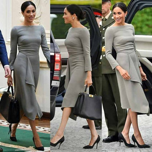 Simple Gray Knee Length Mother of the Bride Groom Dresses Long Sleeves Satin Ruched PLeated Cheap Mother Evening prom Dress