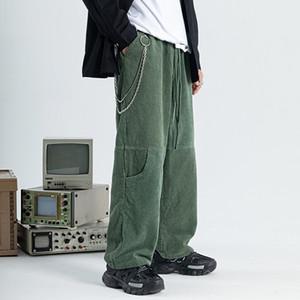 Pantalones de pana de pierna ancha para mujeres de los hombres japoneses Streetwear holgados pantalones masculinos de la vendimia del otoño y del invierno Pantalones sueltos Retro